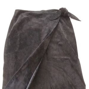 Siena Studio bow wrap skirt suede leather